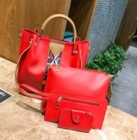 Teónia-4 részes táska szett-Piros